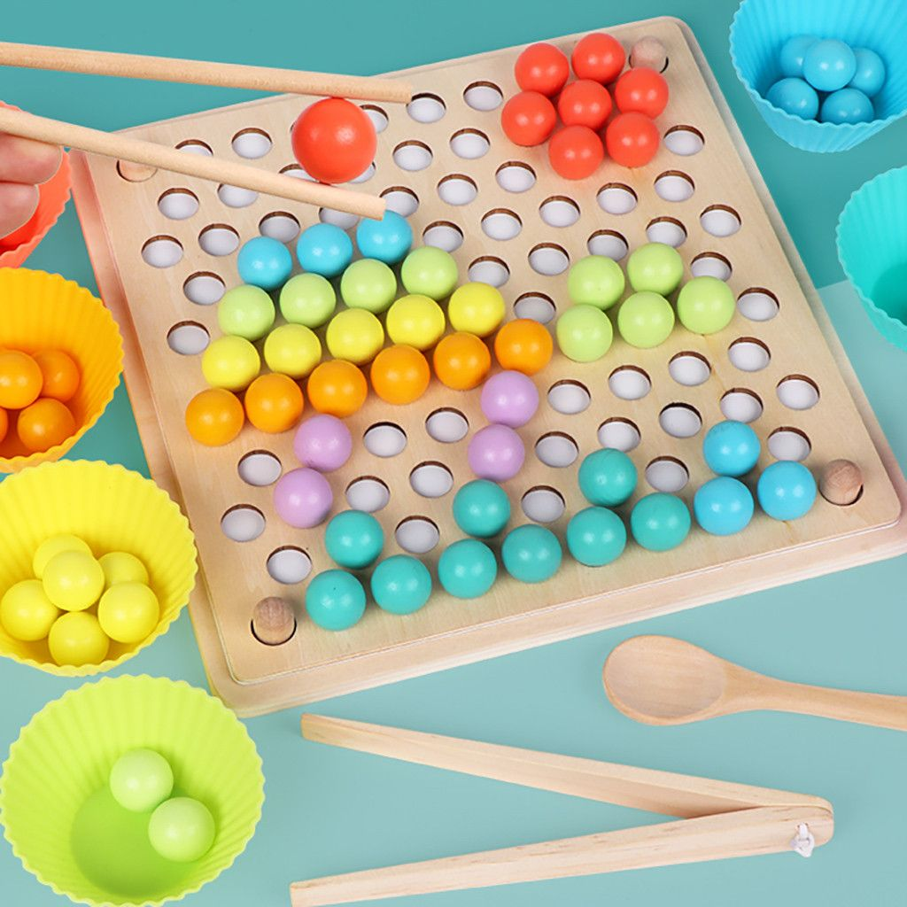 Kids Clip Beads Toy Hands Brain Training Montessori Educational Puzzle Game Gift