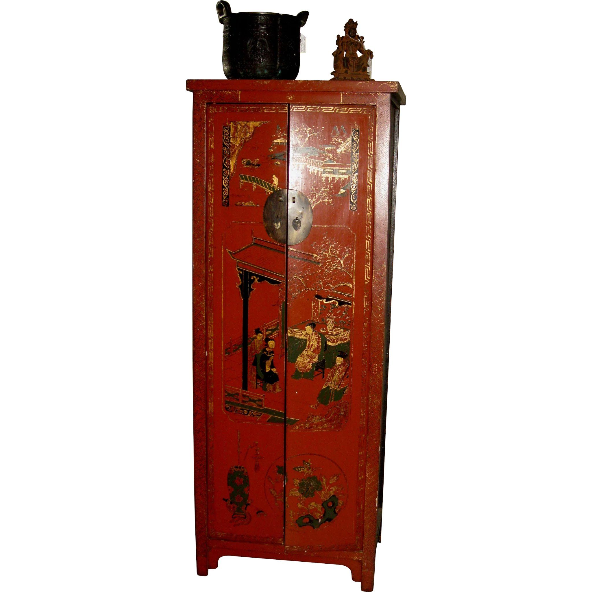 Old Chinese Red Lacquer Cabinet For Wine Storage Www Rubylane Com Vintagebeginshere Asian Asiandecor Asianinterior Wine Storage Wine Cabinets Red Lacquer