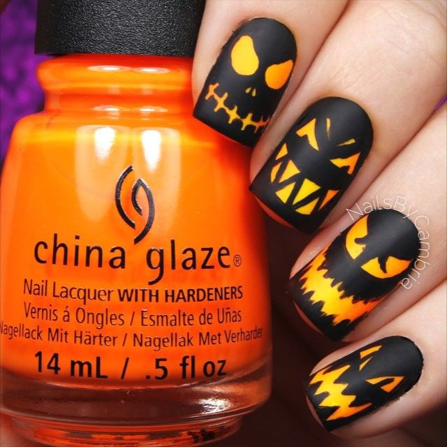Here S The Tutorial For My Scary Jack O Lantern Nails It S Like Looking Nail Vinyls Halloween Nails Nail Stencils