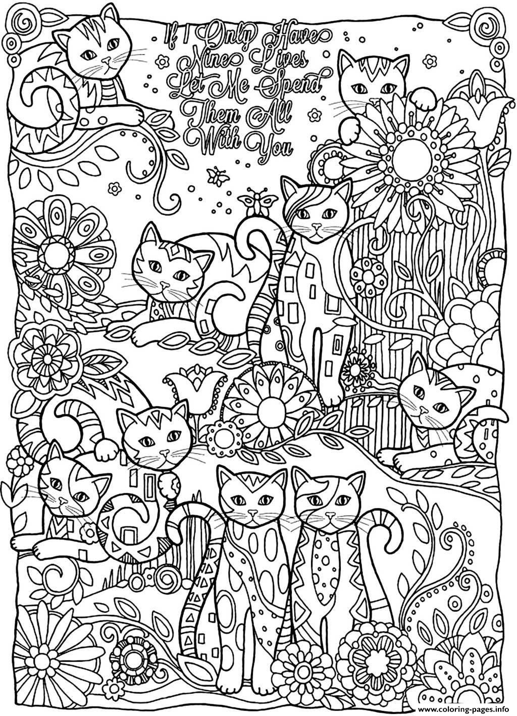 Print Adult Cats Cutes Coloring Pages