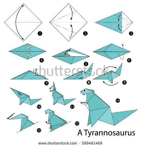 Step By Instructions How To Make A Origami Dinosaur