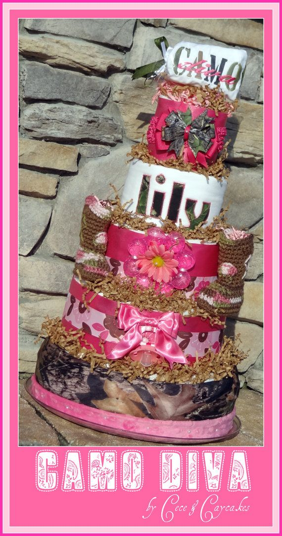 CAMO DIVAHUNTER 5Tier Diaper Cake by CECEandCAYCAKES on Etsy
