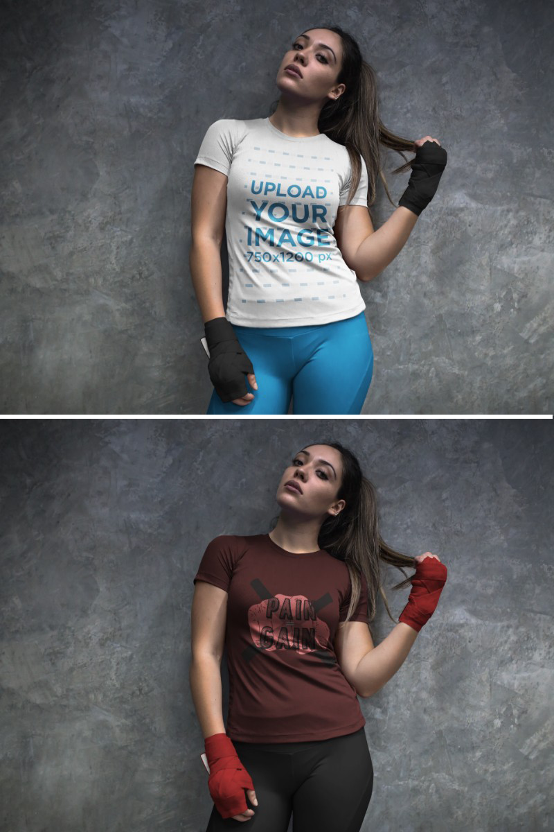 Download Placeit Sports Mockup Of A Woman At The Locker Room Wearing Custom Sportswear And Boxfit Hand Gloves Custom Sportswear Sportswear Women