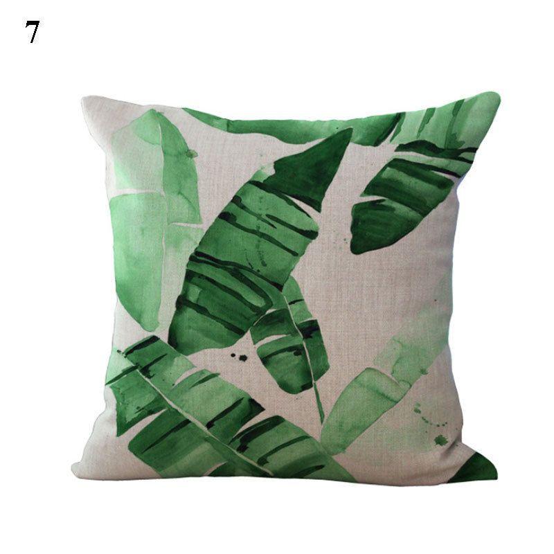 Details zu Kissenbezüge 45x45 Grün Pflanzen Bilder Deko Leinen - dekoration wohnzimmer grun