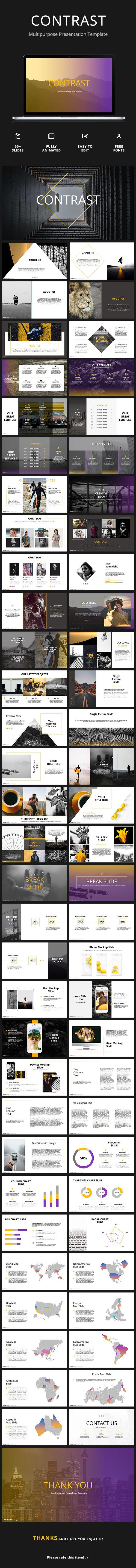 Contrast - Creative Google Slides Template | Presentation templates ...