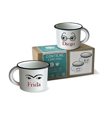 "Set of two (2) enamel mugs Frida + Diego Box size: 7.6"" x 3.7"" x 3.7"" Mug size: 2.7"" x Ø3.1"" 13 oz This item is available at Best Mx Products for sale in the US"