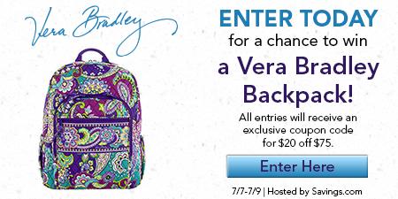 Vera Bradley Backpack Giveaway Ends 7 9 14 Happy Deal Happy Day Vera Bradley Vera Bradley Backpack Vera Bradley Backpack Campus