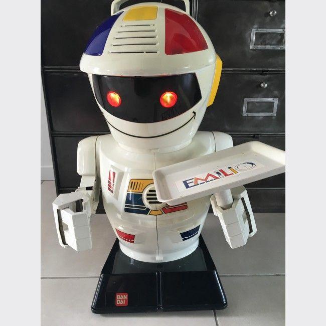 Robot Emilio BANDAI vintage Année 80 - Bakélite - Blanc - Bon état ...