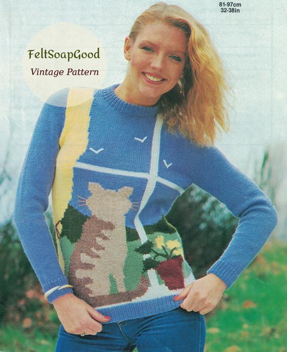 Cat lovers sweater - Simple vintage pattern. PDF ...