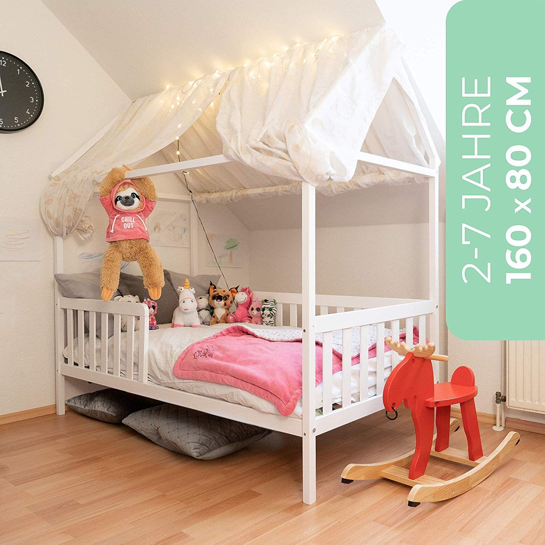 Amazon De Alcube Hausbett 160x80 Cm Stabiles Kinderbett Mit