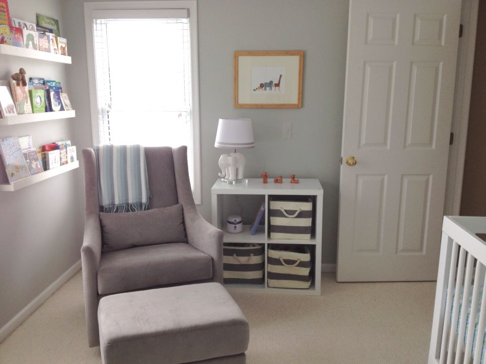 West Elm Graham Glider In Dove Gray. IKEA Storage Cube, Rifle Paper Co  Animal Parade Print, Land Of Nod Storage Bins. Lamp Pottery Barn Kids.