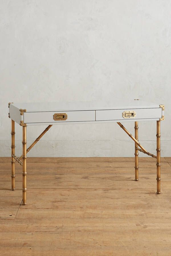 Anthropologie style furniture Bohemian Style Faux Bamboo Legs And Campaign Style Drawers Anthropologie Lacquered Wellington Desk Anthropologie Faux Bamboo Legs And Campaign Style Drawers Anthropologie Lacquered