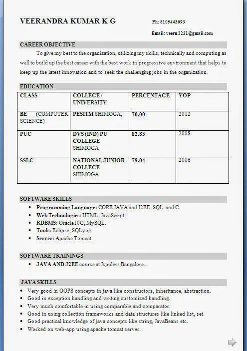 contoh curriculum vitae Sample Template Example of Excellent - best resume format for freshers