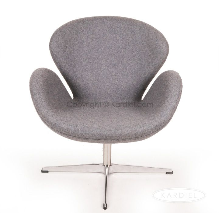 Swan Chair Cadet Grey Tweed Cashmere Wool Copy Of The Original By