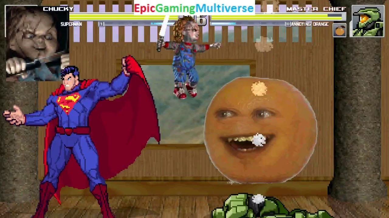 Superman And Chucky The Killer Doll VS Master Chief Annoying Orange In A MUGEN Match