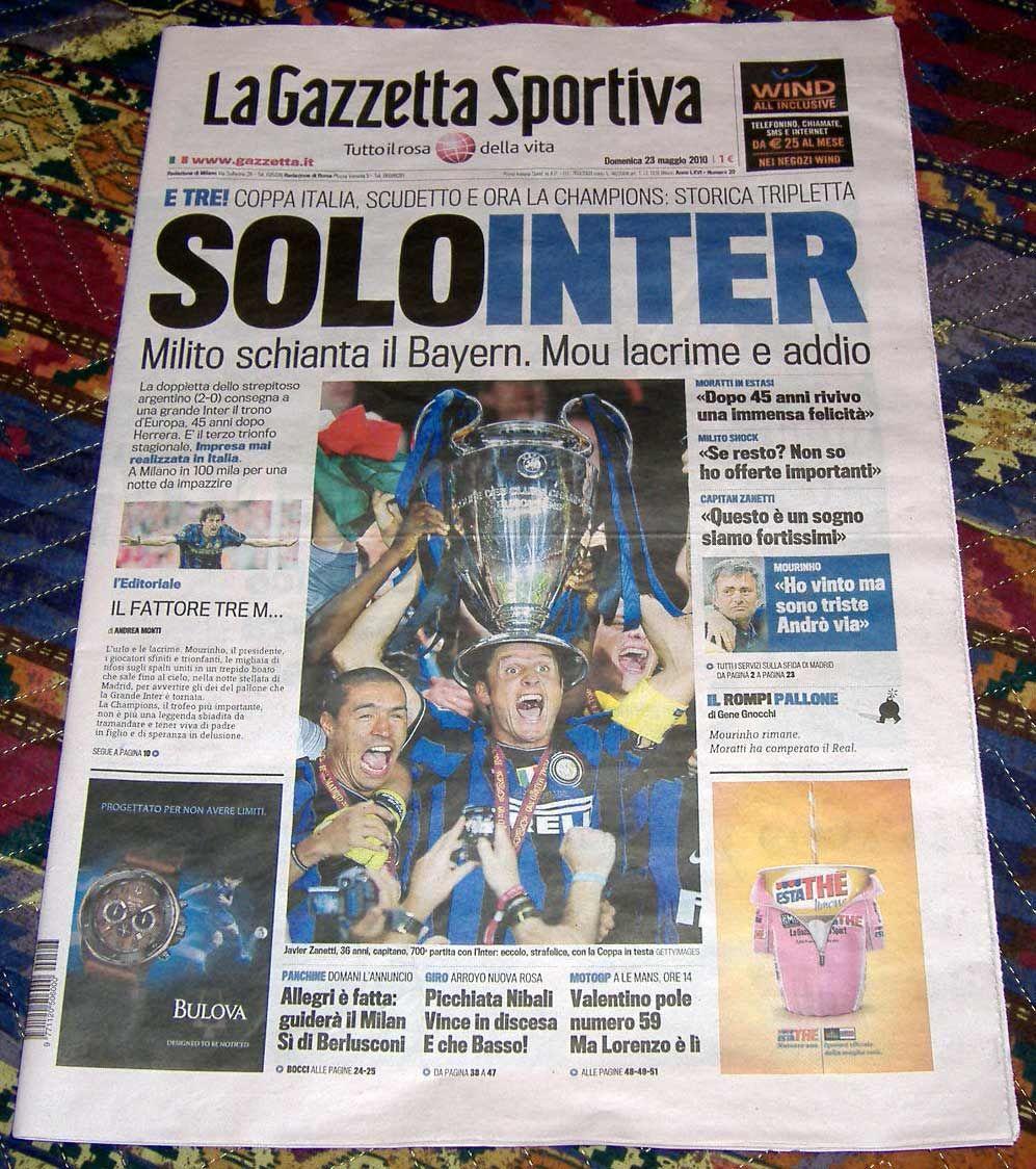 Gazzetta Champions Inter www.bauscia.it Triplette, Milano