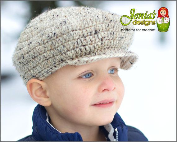 12ce1cc13d CROCHET PATTERN - Scally Cap (Newsboy Hat) for Baby, Infant, Toddler ...