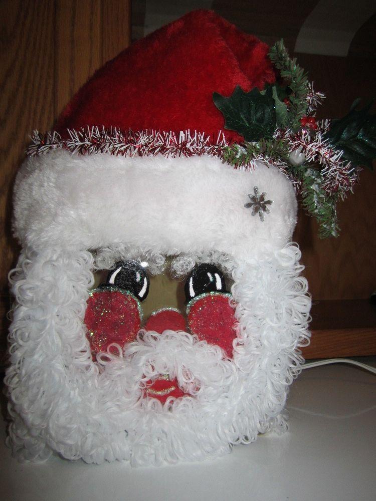 Holiday Santa Glass Block Light with Plush Hat & Chenille Beard