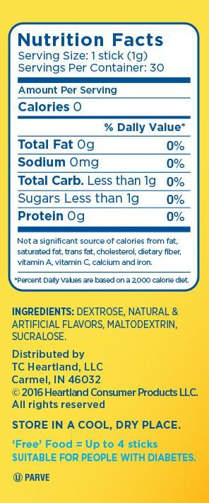 Nutrition Facts Splenda 174 No Calorie Sweetener Flavors