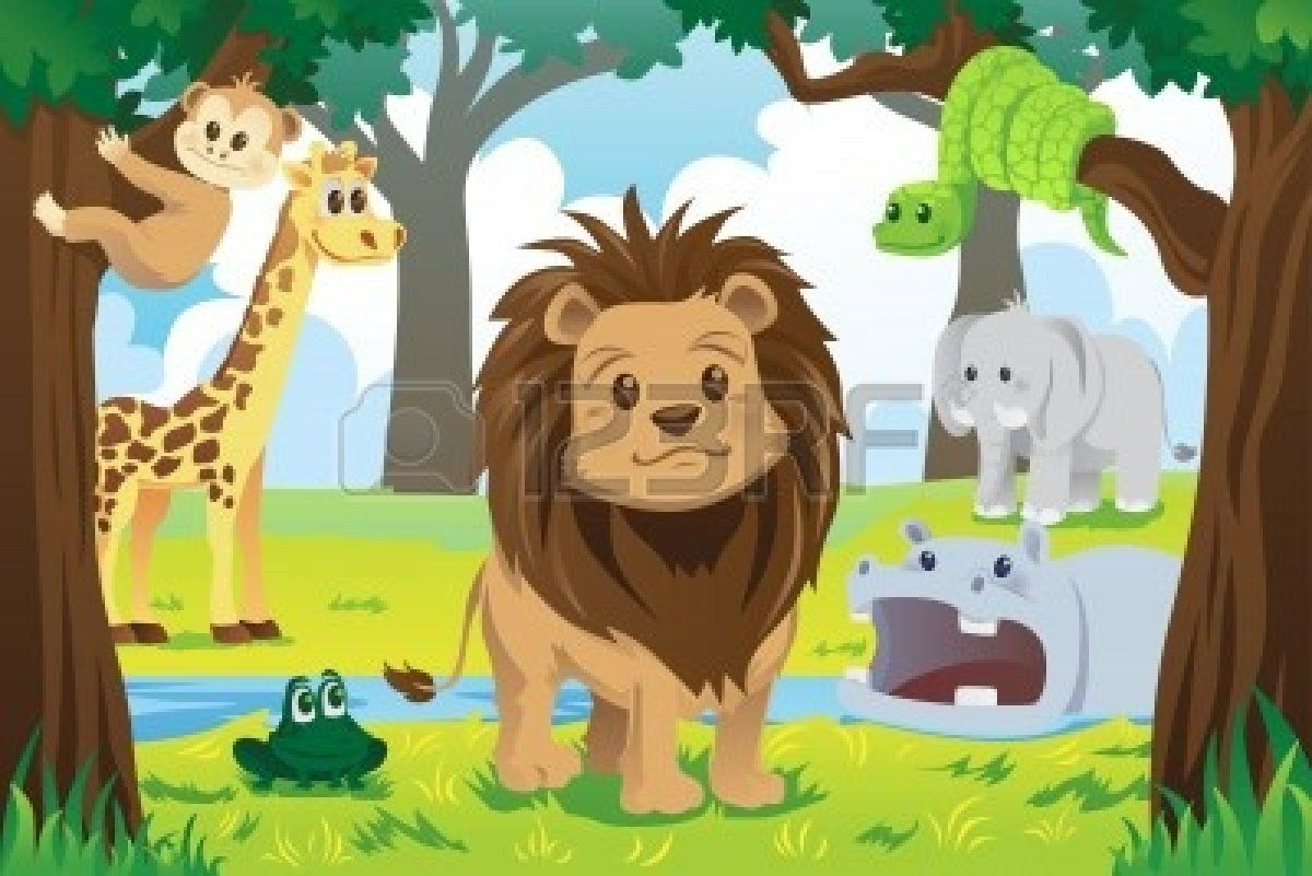 11972379 A Vector Illustration Of Wild Jungle Animals In The Animal Kingdom Jpg 400 267 Jungle Animals Cartoon Drawings Of Animals Animals Wild