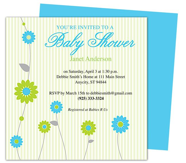 Retro Baby Shower Party Invitation Templates Edit yourself with - invitation templates for microsoft word