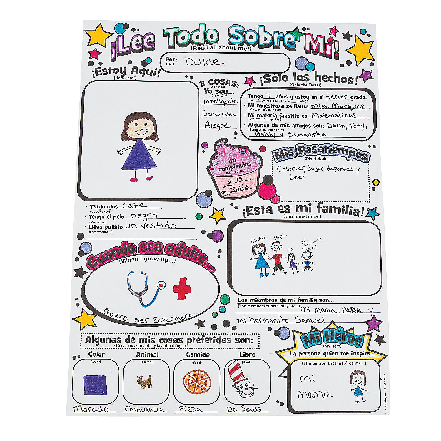 Color Your Own Spanish All About Me Posters Coloring
