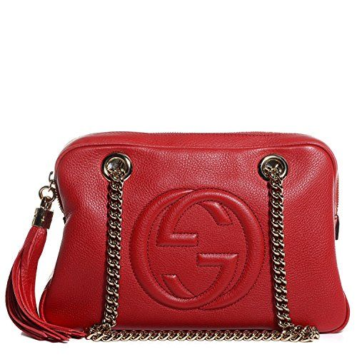 32ff666615d Gucci Soho Leather Chain Tabasco Red Gold Hardware Small Short Shoulder Bag