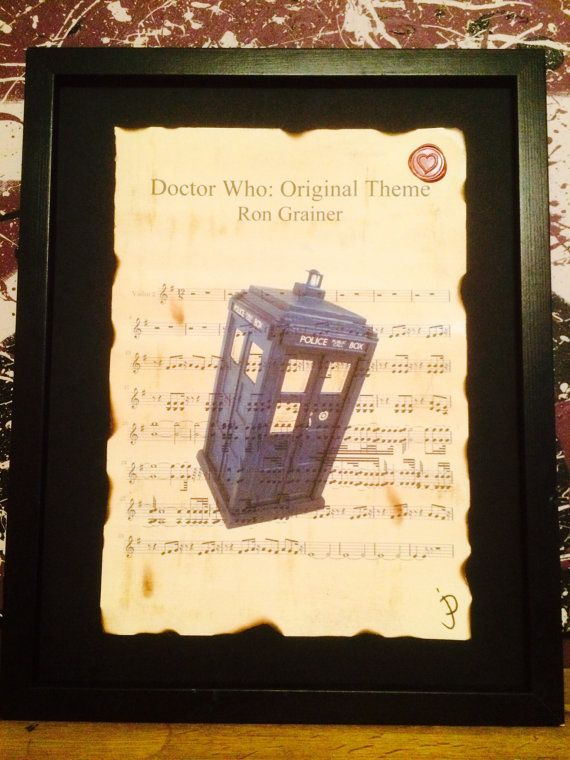 Doctor who, Tardis, sheet music wall art, Ron Grainer, geek chic art ...