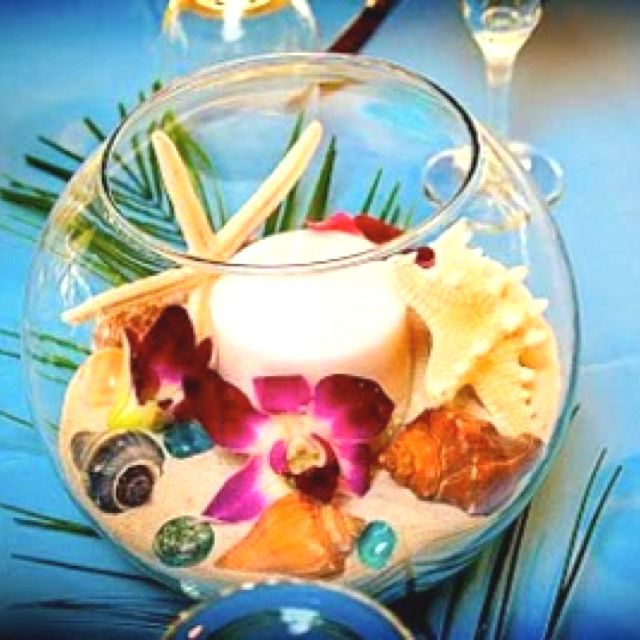 Beach theme fish bowl centerpiece wedding pinterest for Fish bowl centerpieces ideas
