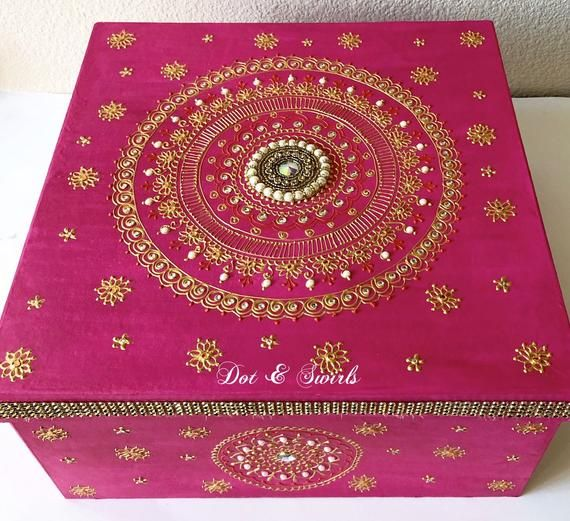 Hot pink wooden box with gold henna mandala keepsake box wedding box gift boxjewelry box henna mandala wooden organizer