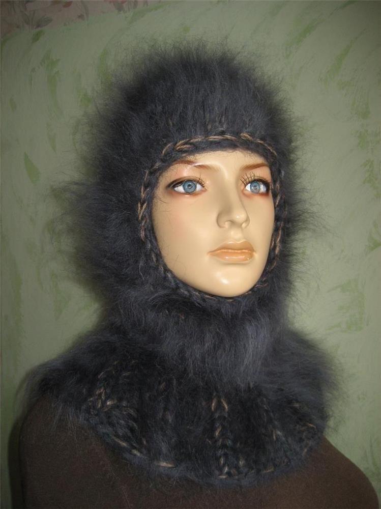 Thick  Mohair Beanie Hat  Balaclava Dark Gray/Beige #Handmade #Ski