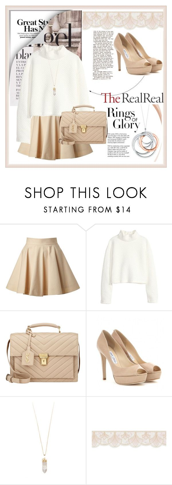 """""""Lovely Fall"""" by nia-nguyen ❤ liked on Polyvore featuring Tiffany & Co., RED Valentino, H&M, Yves Saint Laurent, Jimmy Choo and Rebecca Taylor"""