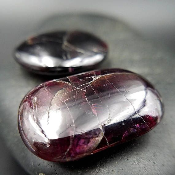 Receive 2 Gemmy Rhodolite Garnet Flat Palm Stone Crystals For Your