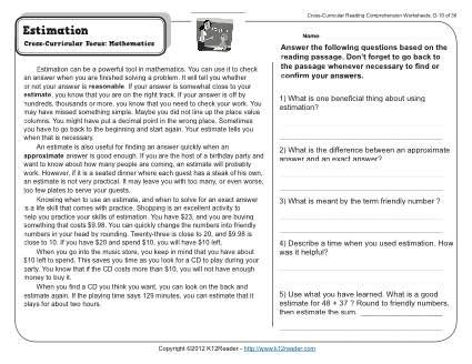 Estimation 4rd Grade Reading Comprehension Worksheet Reading Comprehension Worksheets Math Answers Reading Comprehension