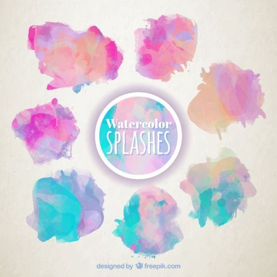 Watercolor Splashes Set Free Graphics Watercolor Watercolor Logo