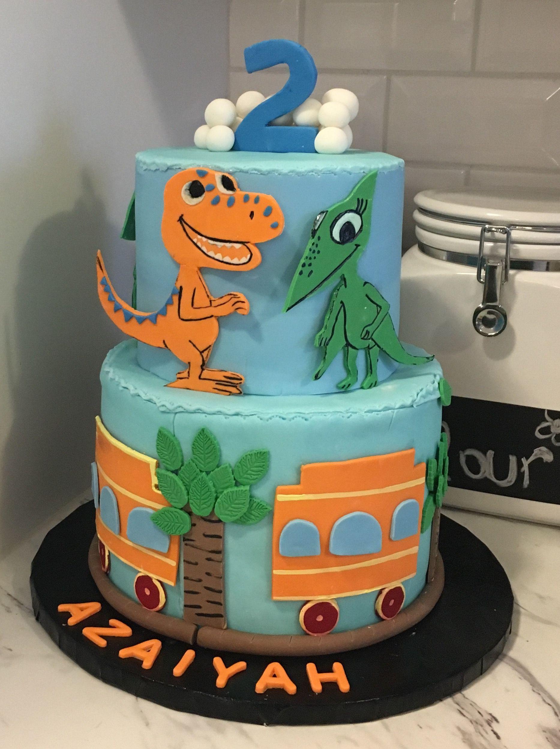 Awesome Dinosaur Train Cake Dinosaur Train Cakes Dinosaur Birthday Personalised Birthday Cards Veneteletsinfo