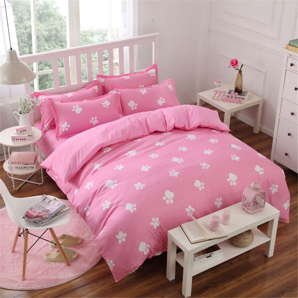 S Pink Comforter Bedding Bed Set Kids 4 5 Pcs Foot Printed Quilt Duvet Cover