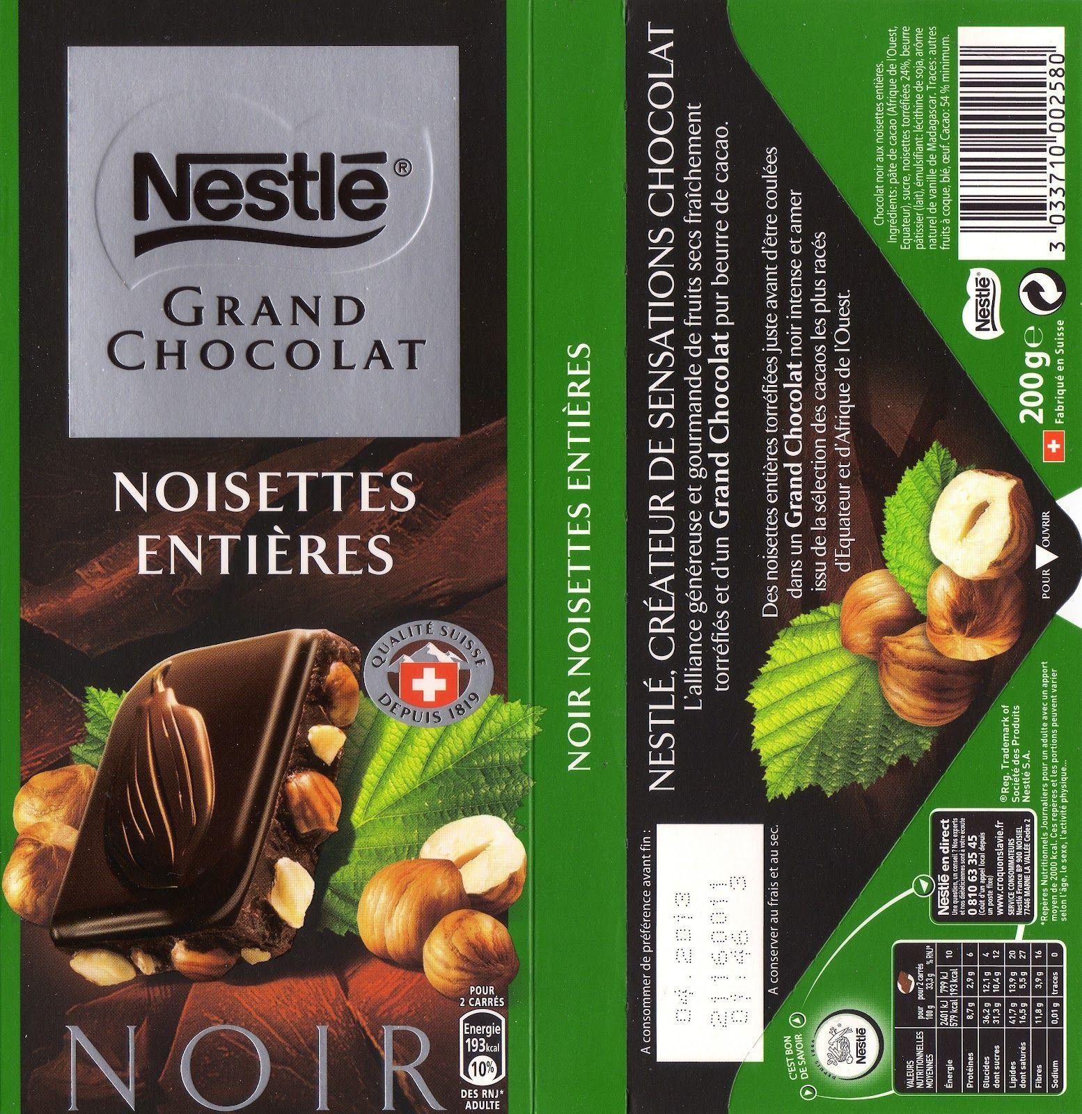 nestle grand chocolat noir noisettes