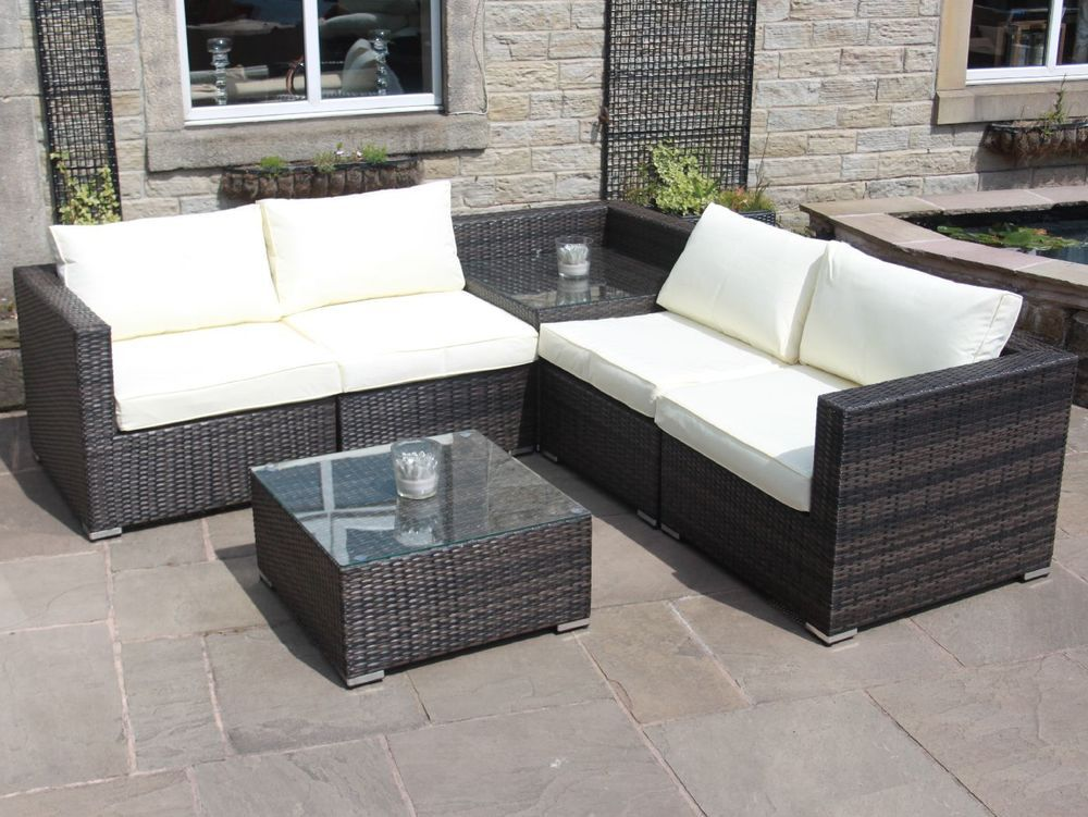 Rattan Outdoor Sofa Set With Corner Table Garden Furniture In Black Brown Grey Rattan Patio Furniture Black Rattan Garden Furniture Garden Sofa Rattan