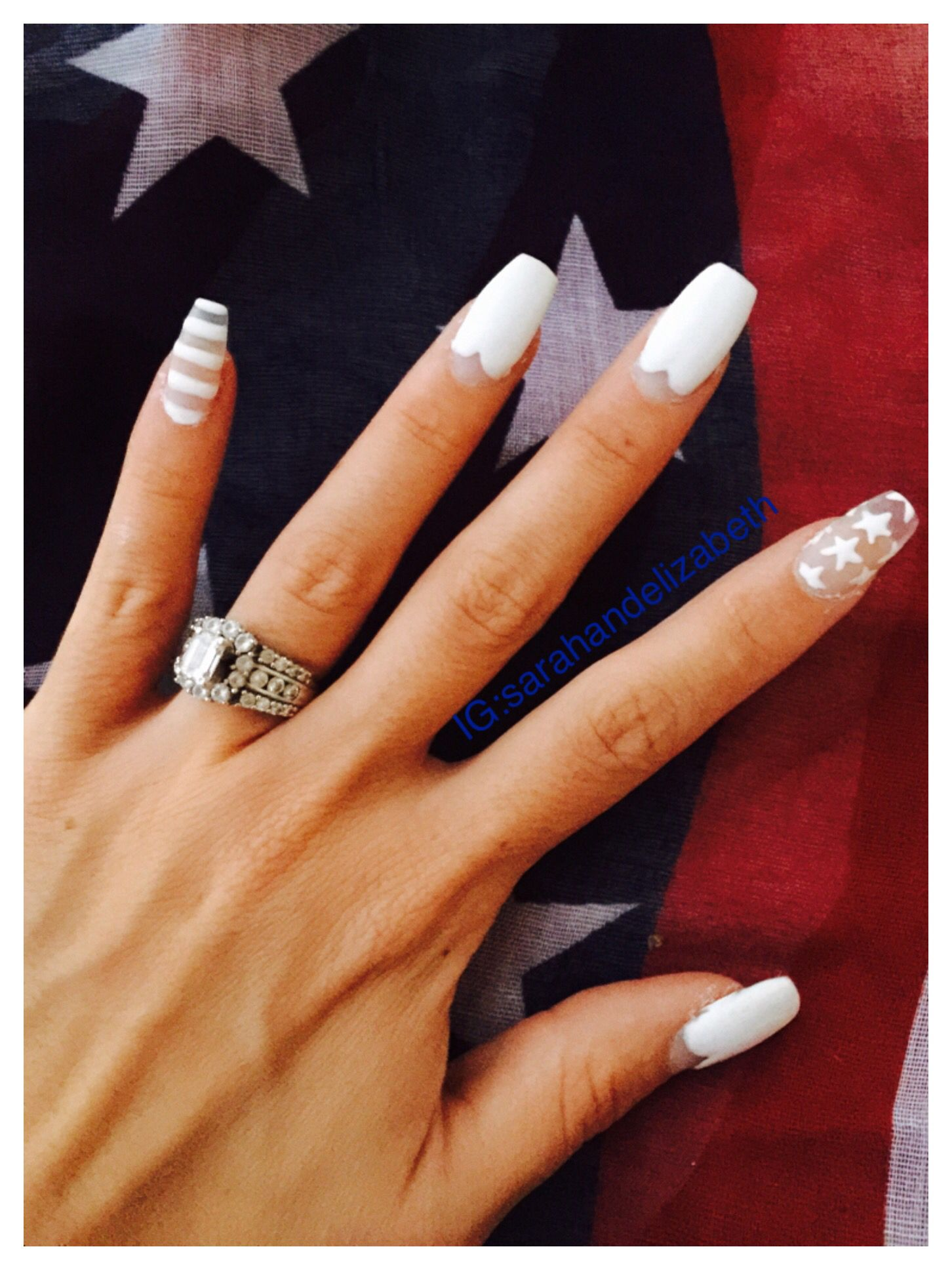 The 4th Of July Nails Red Shirt White Nails And Blue Jeans Usa Nail Idea All American Red Nails White Nails 4th Of July Nails