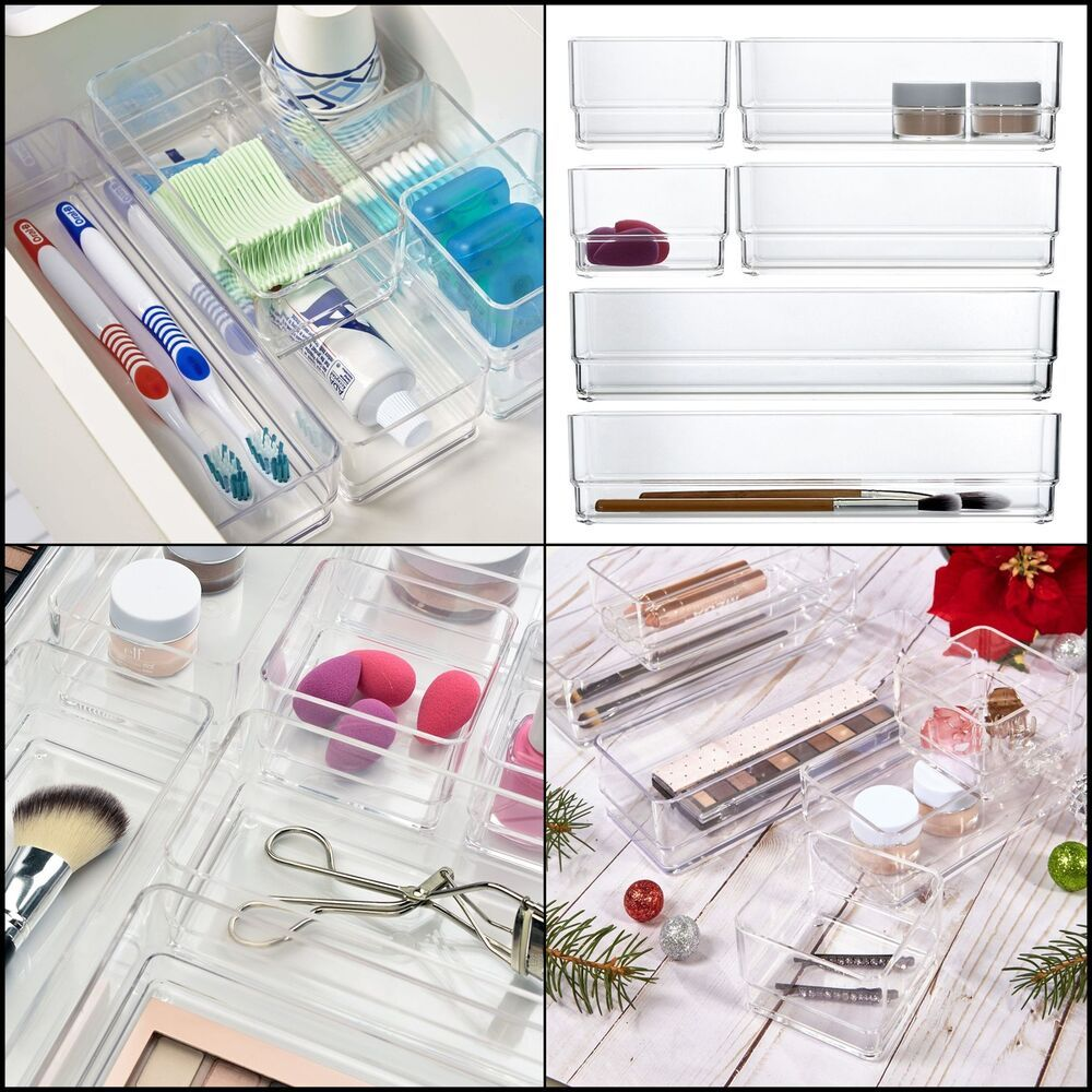 Clear Plastic Vanity & Desk Drawer Organizers Variable