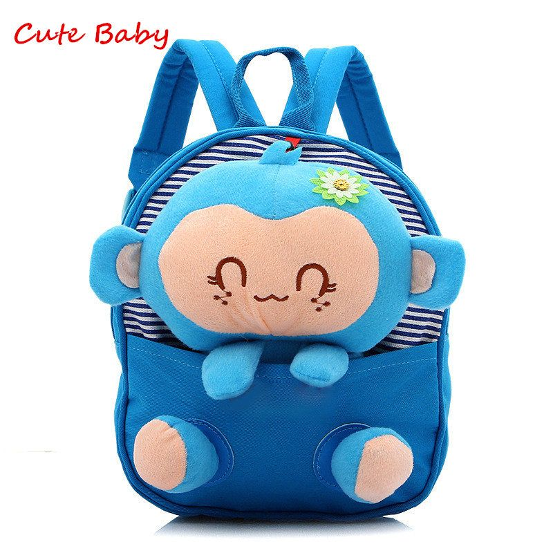 Plush Cartoon Monkey Doll Lovely Kids Backpack Toys Children Schoolbag Boys Girls Kindergarten Baby Book Bags
