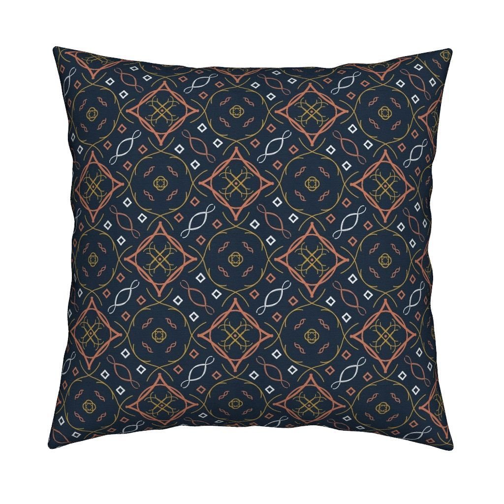 b7387f0df5 Catalan Throw Pillow featuring Blue Coral White 45 Modern Boho by ...