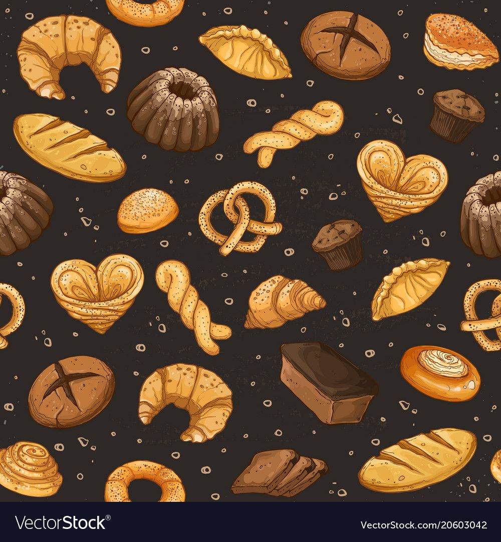Bakery Background Vector Seamless Pattern With Pastry Hand Drawn Cakes And Pies Wallpaper Bread Objects On Black Backgro Cake Wallpaper Bakery Design Bakery