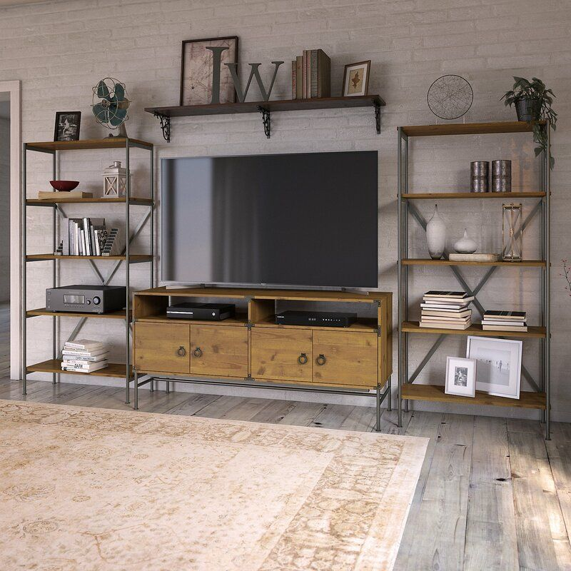 Entertainment Center For Tvs Up To 70 Bookcase Tv Stand Rustic