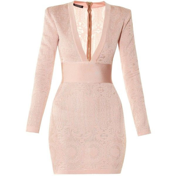97182c24 COM ($1,815) ❤ liked on Polyvore featuring dresses, balmain, pink dress and balmain  dress