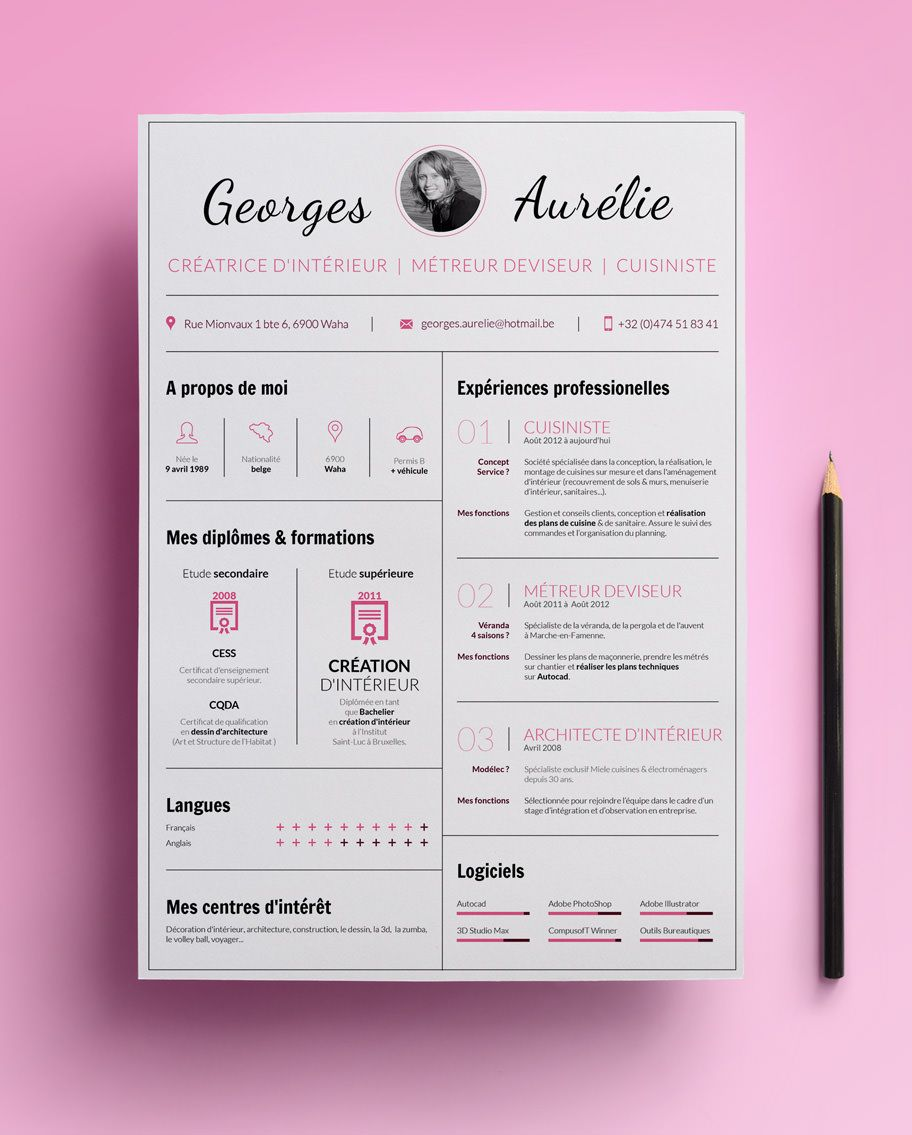 C V De Georges Aurelie Une Jeune Decoratrice D Interieure Et Cuisiniste Cv Creatif Modele De Cv Creatif Design Cv Creatif