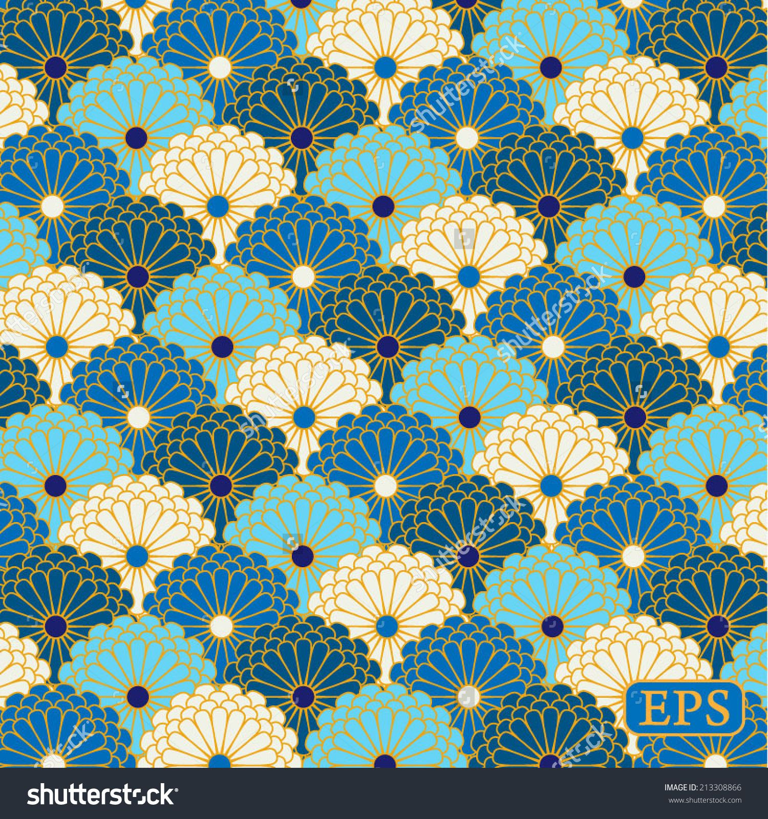 stock-vector-traditional-japanese-flower-pattern-213308866 ...