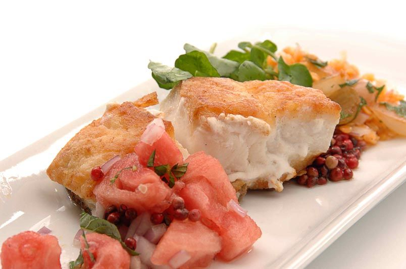 Chef Jeff Suddaby's pan seared #grouper with pink peppercorn, pickled ginger & watermelon relish: http://goo.gl/VZ8qPf