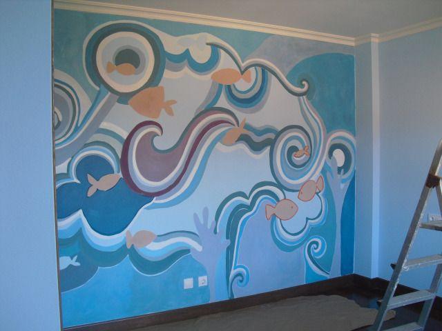 Pintura mural para habitaci n infantil el mar se cuela en for Mural para habitacion